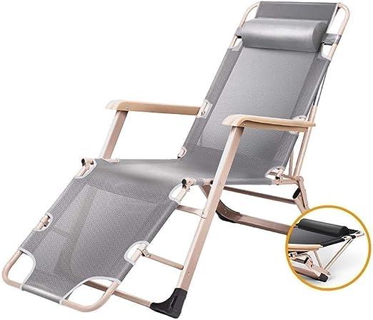 Mueble de jardín / Sillón reclinable for terraza Sillón reclinable de gravedad cero Cómodo, sillas de jardín Sillón reclinable plegable de jardín ajustable al aire libre Silla con reposabrazos y apoyo: Amazon.es: