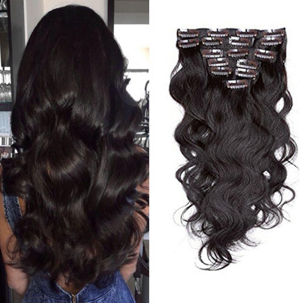 Ugeat Clip in Full Head Hair Extensions 20inch 7pcs Remy Brazilian Darkest Brown 2# Body Wave Seamless Human Hair Extensions 120g Weihai Ugeat Hair