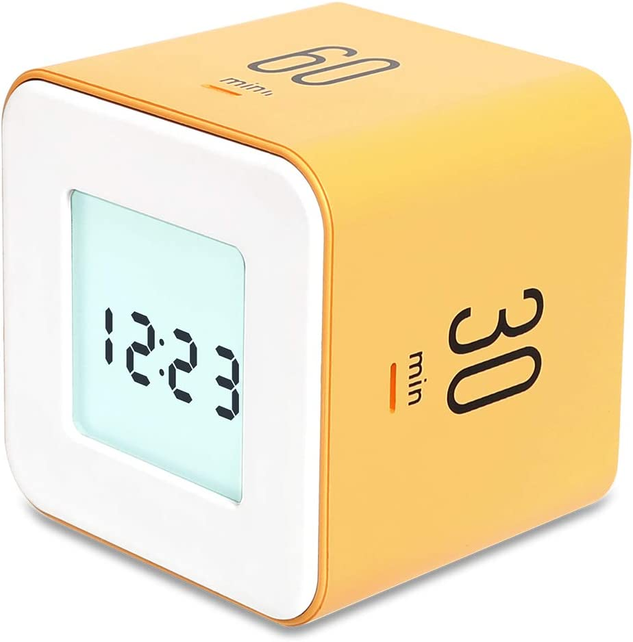 mooas Multi Cube Timer/Rotating Timer, Simple Operation, Clock & Alarm (Yellow)