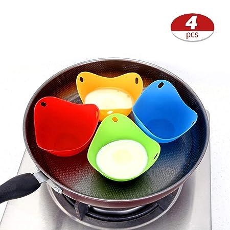 Sarplle Eggs Cazadores furtivos 4 Piezas Huevos Taza para escalfar Huevo de Silicona Calderas Tazas Molde para Pastel de Cocina Microondas