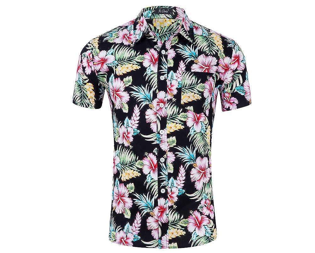 OLUOLIN Mens Tropical Floral Print Short Sleeve Casual Button Down Beach Aloha Hawaiian Shirt
