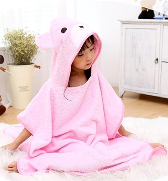 Pink Toalla de beb/é transpirable Albornoces de dibujos animados infantiles Toallas de ba/ño de toalla con capucha dinosaurios poligonales