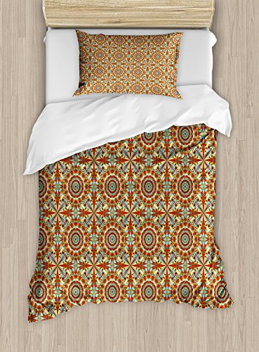 Ambesonne Arabian Duvet Cover Set Twin Size, Colorful and Geometric Patterns with Persian Ethnic Art Elements Eastern Bohemian, Decorative 2 Piece Bedding Set with 1 Pillow Sham, Multicolor by Ambesonne