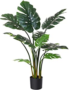 """Fopamtri Artificial Monstera Deliciosa Plant 43"""" Fake Tropical Palm Tree, Perfect Faux Swiss Cheese Plant for Home Garden Office Store Decoration, 11 Leaves (1)"""