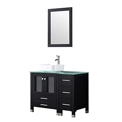 Attirant Walcut Black 36u201d Modern Bathroom Vanity And Sink Combo Wooden Cabinet  Ceramic Vessel Sink With