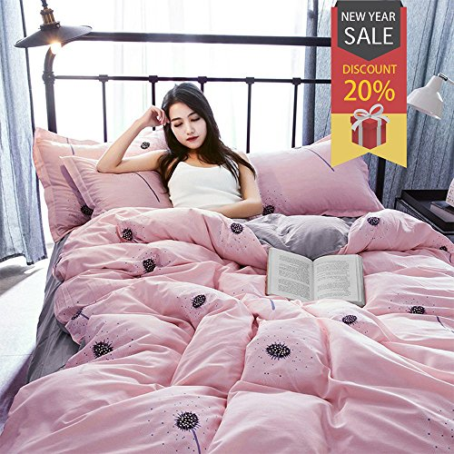 Uozzi Bedding 3 Piece Duvet Cover Set Queen, Reversible Printing with Brushed Microfiber, Lightweight Soft,Easy Care, Simple Comforter Cover 3PC Bedding Set, 30-day Free Return (Pink, Queen) (For Cute Beds Quilts)