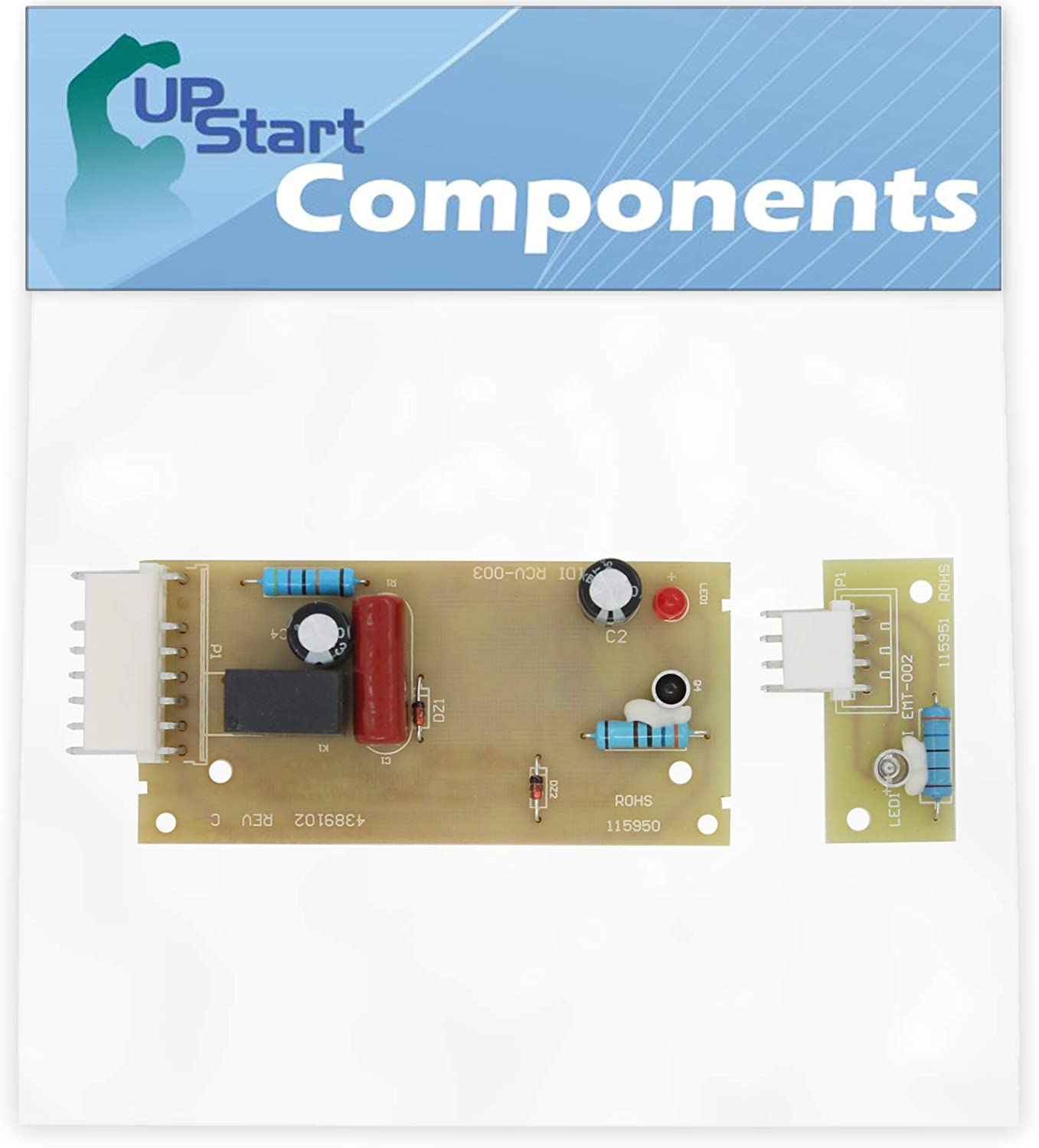 W10757851 Refrigerator Ice Level Control Board Replacement for KitchenAid KSRK25FVMK01 Refrigerator - Compatible with 4389102 Icemaker Emitter Sensor Control Board - UpStart Components Brand