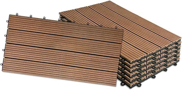 UISEBRT 6x Baldosas Madera Exterior WPC Compuesto 30 x 60cm - Baldosas de Terraza Jardin (6 piezas 30x60cm - 1m², Marrón): Amazon.es: Bricolaje y herramientas