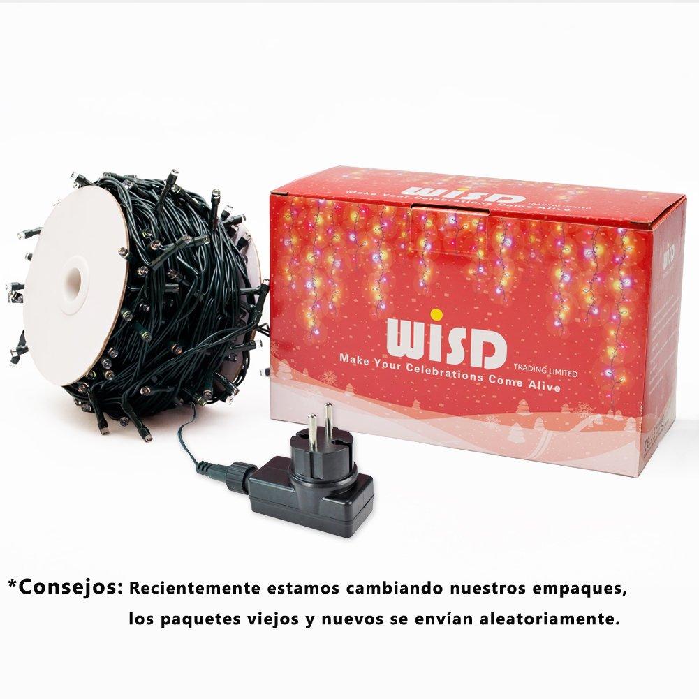 Cadena de Luces WISD 33M 600 LED Guirnalda de Luz Impermeable con 8 Modos y Funci/ón de Memoria Luces de Navidad de Dos Colores Azul + Blanco Navidad Fiestas Boda Jard/ín Dormitorio