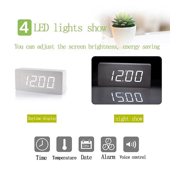 Amazon.com: Triumroad Creative LED Digital Wood Alarm Clock ...