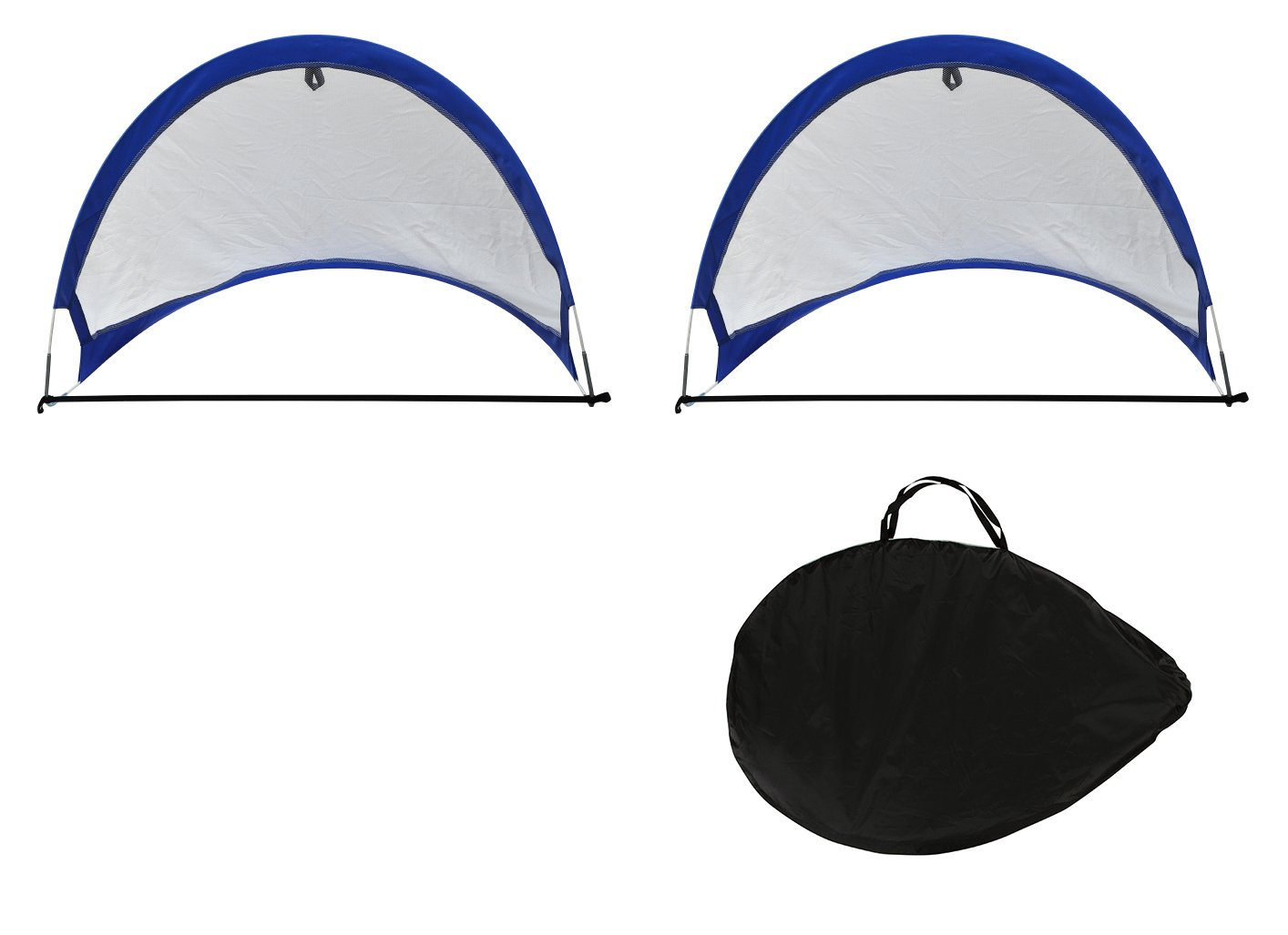 Trademark Innovations 4/' Soccer Goals Mesh Portable Goals with Carry Case /& Stakes Set of 2