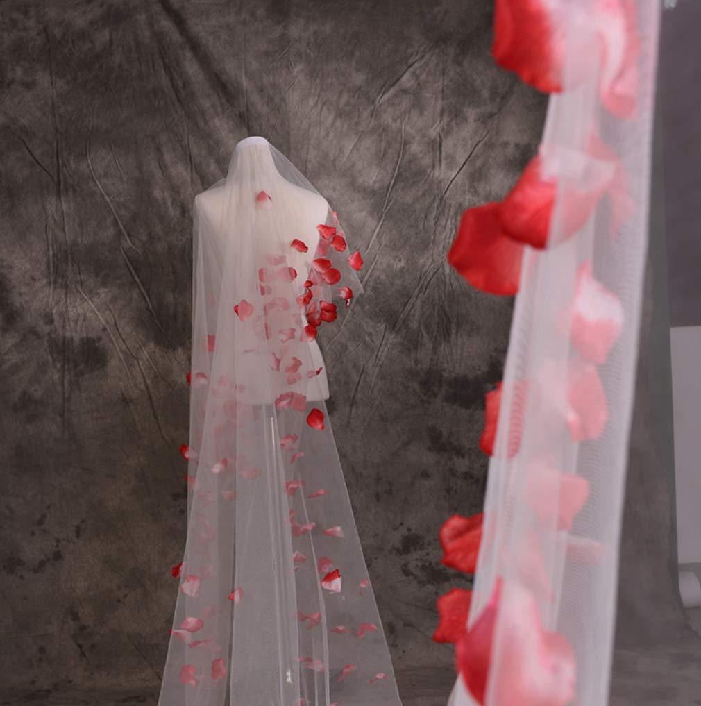 UMOOIN 2019Voiles de mari/ée 5M Unique Couche Rouge p/étales Mariage Voile Longue Doux Tulle Romantique /él/égant cath/édrale Mariage De mari/ée Voile Blanc cr/ème