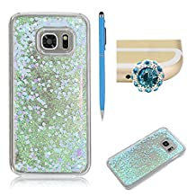 SKYXD For Samsung Galaxy S6 Edge Liquid Case,Luxury Floating Flowing 3D Novelty Design Bling Shiny Sparkle Blue Heart Glitter Plastic Pattern Hard Back Cover Protective Skin Cell Phone Cases For Samsung Galaxy S6 Edge + 1 x Touch Screen Stylus + 1 x Dust Plug
