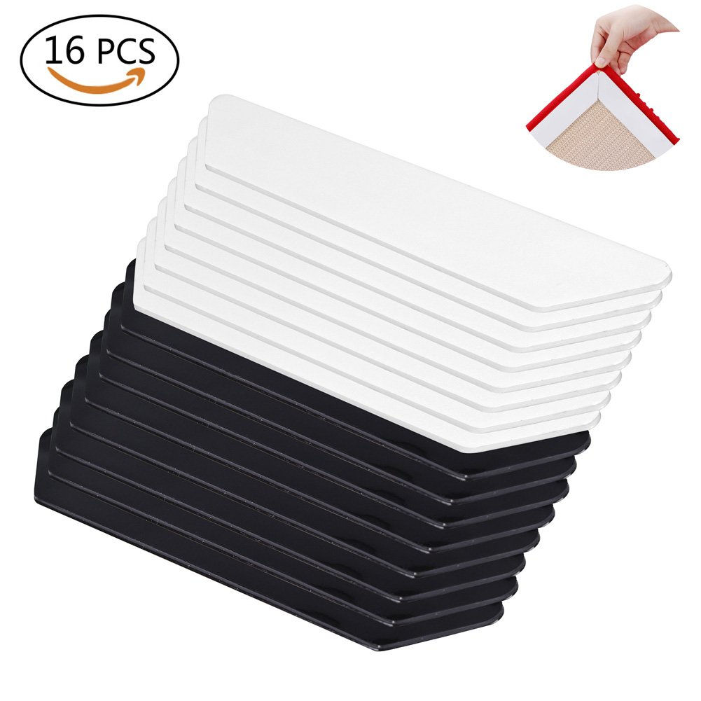 Rug Grippers–16 pcs Anti Curling Rug Gripper. Anti Slip Straight Carpet Gripper for Corners and Edges – Anti Slip Rug Pad for Indoor & Outdoor Carpet Mat, Area Rugs and Hardwood Floor