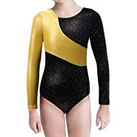 Gymnastic Leotard Girls Long Sleeve Rainbow Stripe Ballet Tutu Dance Outfit for 2-15Y Little Girls Kids
