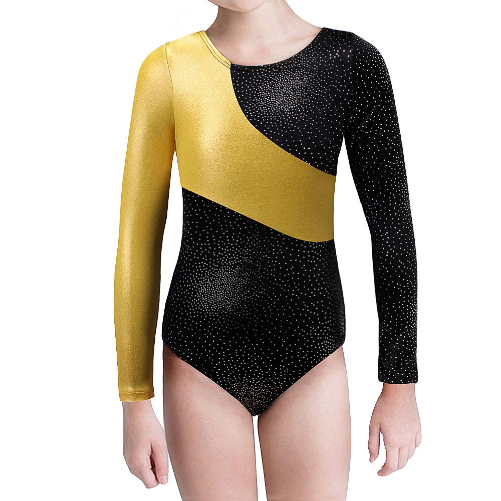 Kidsparadisy Girls Gymnastics Leotard Dance Skirt Sparkly Long Sleeve//Sleeveless Rainbow Strips Dance Dress Ballet Outfit for Kids 2-15 Years