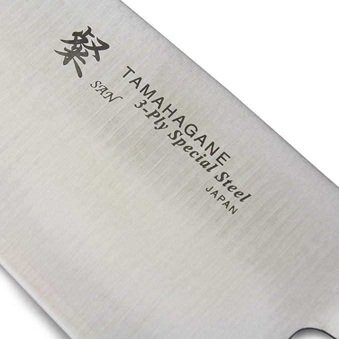 Tamahagane SAN Cuchillo Santoku de madera laminada de acero ...