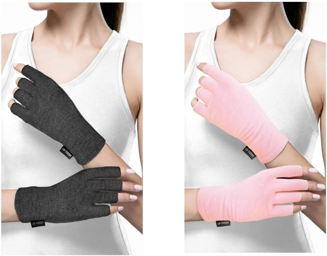 Copper Compression Cotton Arthritis Gloves. Best Copper Infused Glove for Arthritis Hands, Arthritic Fingers, Carpal Tunnel, Computer Typing, Hand Support. Fingerless for Women and Men. (1 Pair)