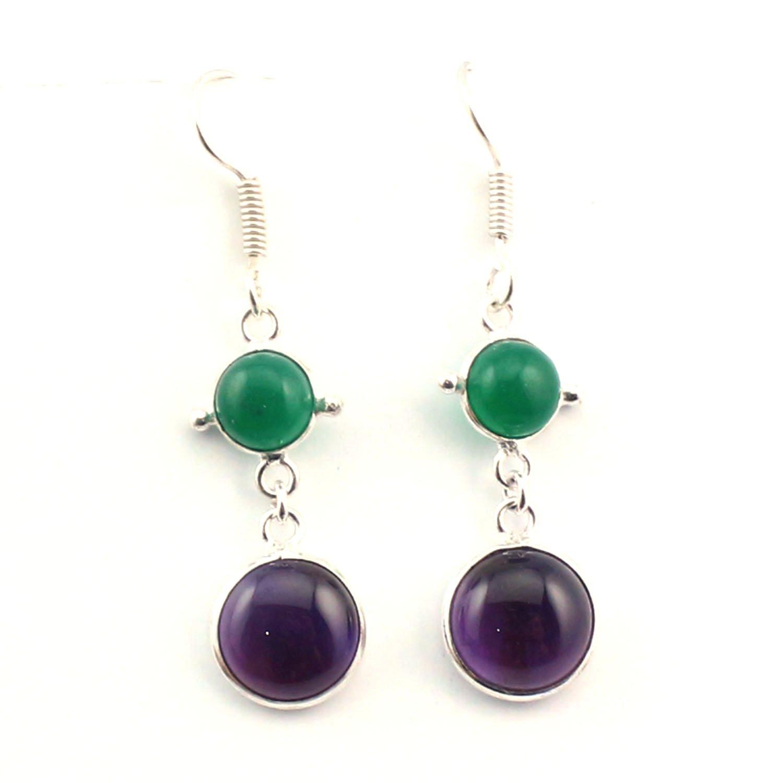 Silver-Hub Amethyst Green Onyx Dangle Fashionable Beautiful