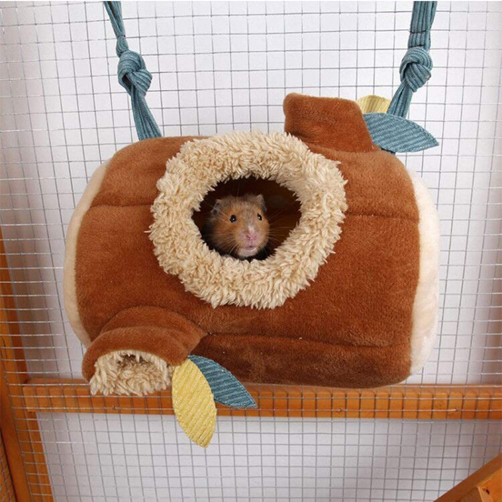 Hamster Hammock,Small Animals Tunnel Cotton Nest Hanging Hammock for Cage-Nest Cage Toys for Rats Baby Chinchilla Guinea Pig Hedgehog Ferret Squirrel(24 17CM)