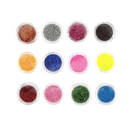 Evana 12 Color Nail Art Tool Hexagon Glitter Nail Kit Colorful