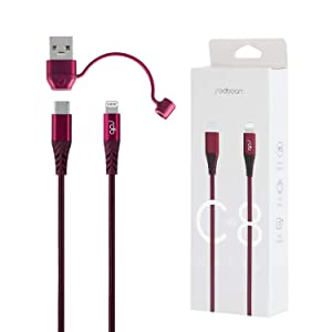 REDBEAN iPhone Charger Cable Bundle, USB C to Lightning Cable  Apple MFi Certified  with USB C to USB Adapter - Anti Lost Clip, 3.9ft Cable for iPhone 12 Pro iPad, Other Apple Devices, Burgundy Red