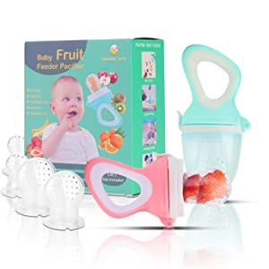 Baby Fruit Feeder Pacifier(2 Pack) - Baby Food Feeder - Infant Fruit Teething Toy for Toddlers Pacifier, Feeder, Teether with 6 PCS Silicone Pouches (Light & Cyan)