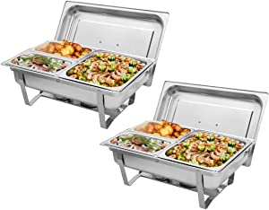 9L2 Three Sets of Dishes 11/2 21/4 Stainless Steel Rectangular Buffet Stove Chafer Dishes– Includes Food Pan, Water Pan– Durable, shiny silver, keeps food warm in catered events