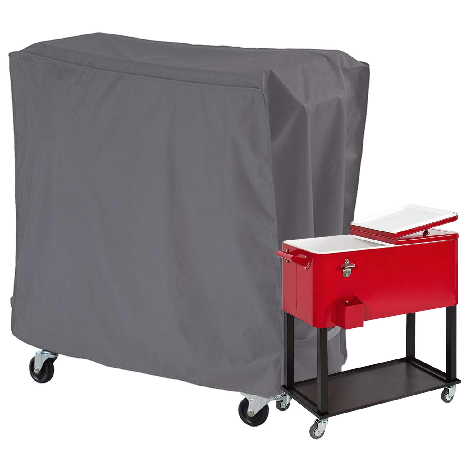 STARTWO Cooler Cart Cover Waterproof Protective Cover, Universal Fit for Most 80 QT Rolling Cooler (Patio Cooler On Wheels, Beverage Cart, Rolling Ice Chest, Party Cooler) by STARTWO