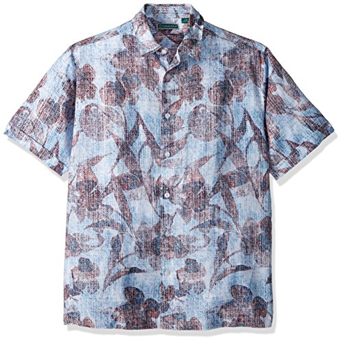 Cubavera Men's Short Sleeve Linen-Blend Tropical Floral Print Button-Down Shirt, Malibu Blue, Large ()