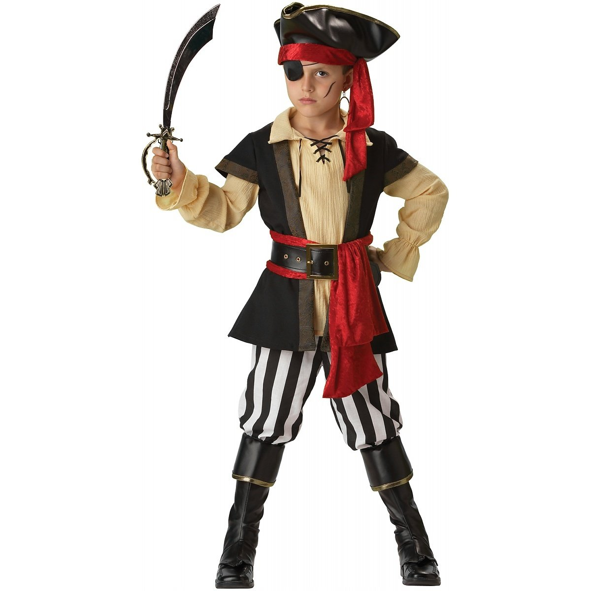 InCharacter Costumes, LLC Boys 8-20 Pirate Scoundrel Vest Set, Black/Red, Large by Fun World (Image #1)