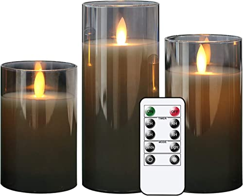 GenSwin LED Flameless Flickering Battery Operated Candles with 10-Key Remote Control, Real Wax Moving Wick Pillar Glass Candles for Festival Wedding Christmas Home Party Decor Pack of 3, Gray