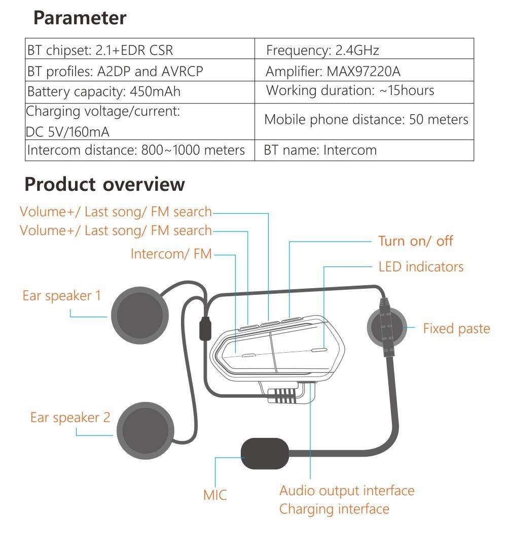 3T6B Motorcycle Bluetooth Headset Intercom Waterproof//Handsfree//Range-1000M//Stereo Music//GPS Motorbike Helmet Communication System Headset Universal Wireless Interphone