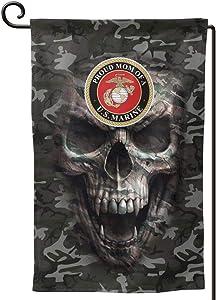 "Proud Mom of A Marine Corp USMC Semper Fi Army Green Camo Garden Flags 12"" x 18"" Outdoor Yard Flags"