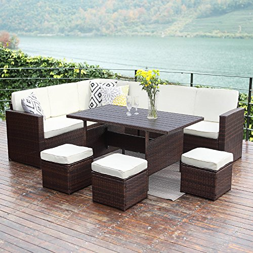 Patio Sectional Furniture Set, Outdoor Conversation Sofa Set All-Weather Wicker Dining Table and Chiar,Brown (Ivory Wicker Ottoman)