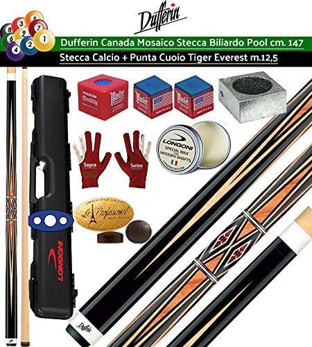 Dufferin mosaico Serie D533. Taco Pro Billar Pool 2 piezas, cm.147, cuero Tiger Everest multicapa o mm. 12,5. Maletín Longoni, rodillos y accesorios gratis.: Amazon.es: Deportes y aire libre