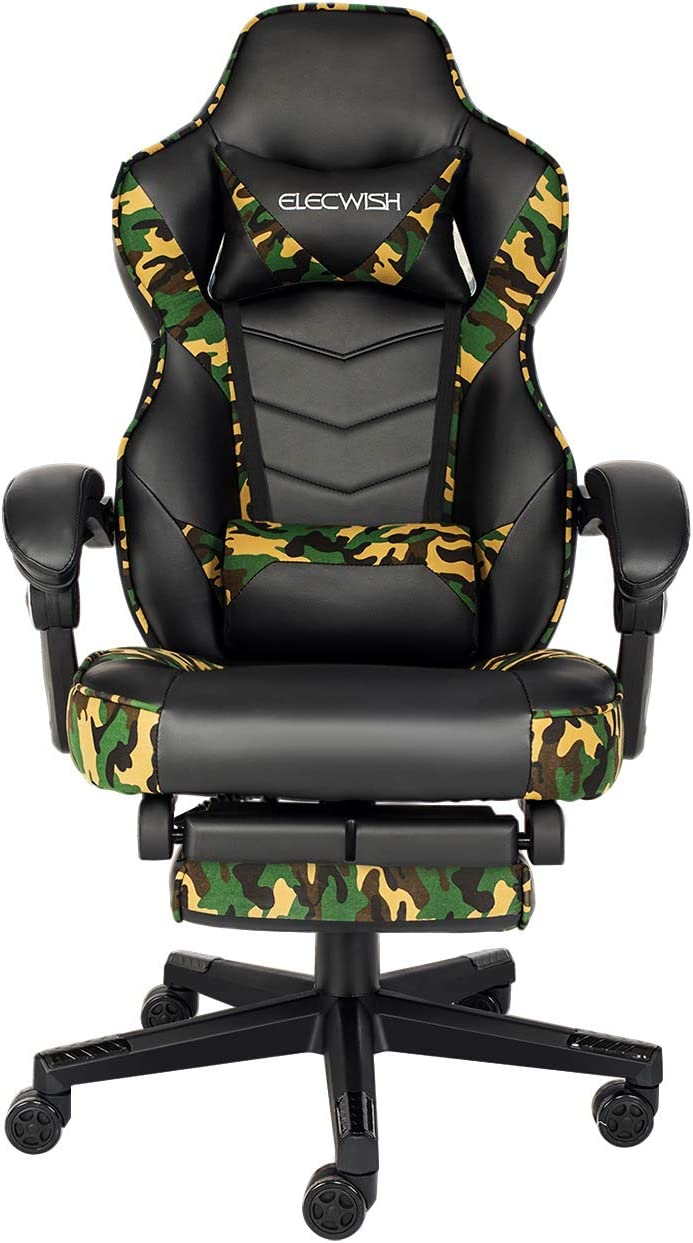 Video Gaming Chair Racing Office - PU Leather High Back Ergonomic Adjustable Swivel Executive Computer Desk Task Large Size with Footrest,Headrest and Lumbar Support (Forest Camo)