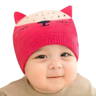 Bébé Tricot Chapeau - Belles Oreilles d'renard Casquette Mignonne Souple Extensible Chapeau pour Enfant Garçon Fille