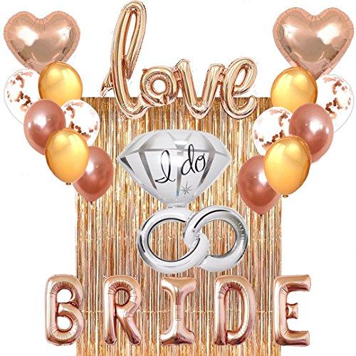 Bachelorette Party Bridal Shower Decorations Set - Kit Includes 1 Fringe Curtain, 1 Set of Bride Balloons, 1 Love Balloon, 1 Ring Balloon, 2 Heart Balloons, 4 Gold, 4 Confetti & 4 Rose Gold Balloons.