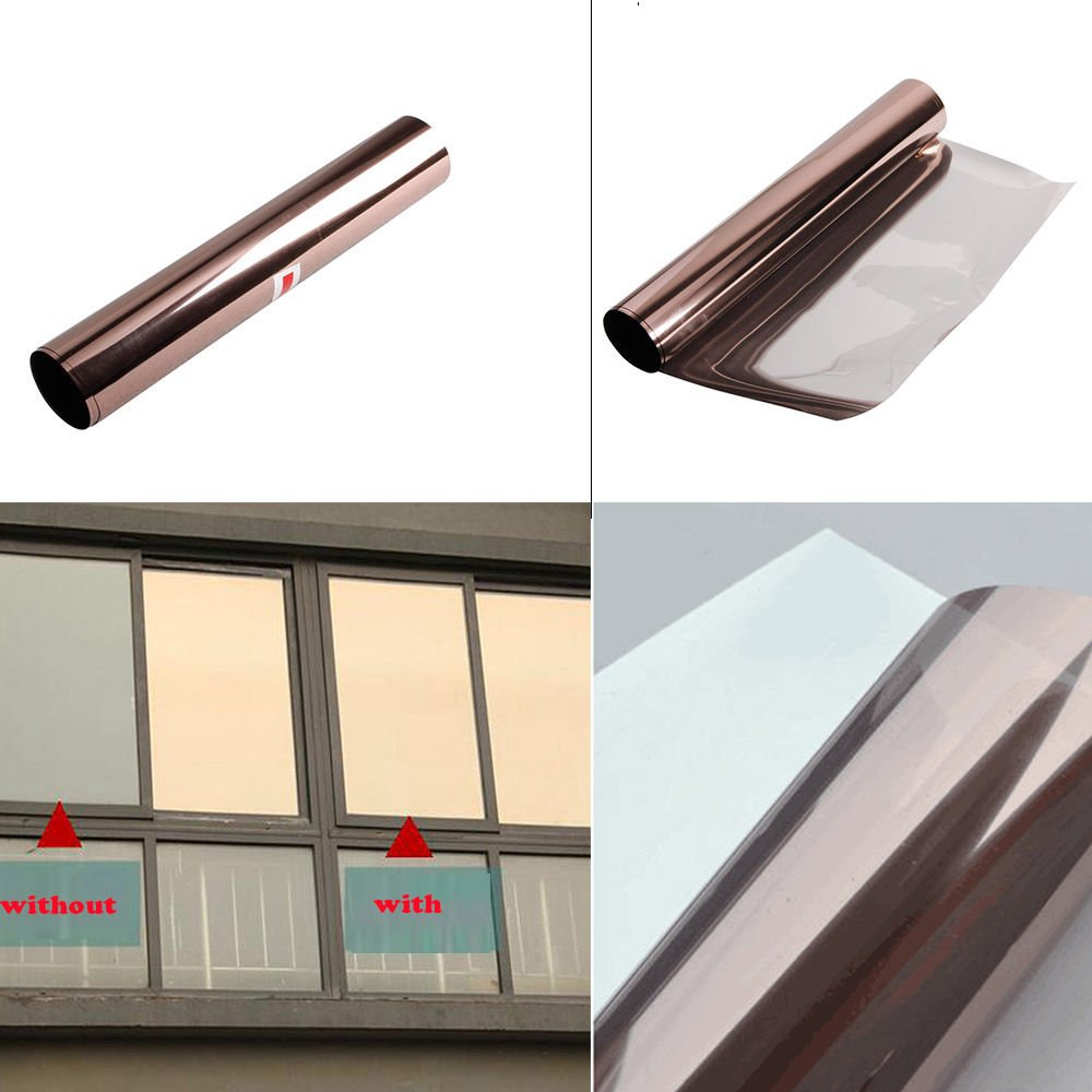 [HOHO] Solar Bronze Silver Window Tint Film One Way Vision Reflective Window Film(60''x100ft) by HOHO