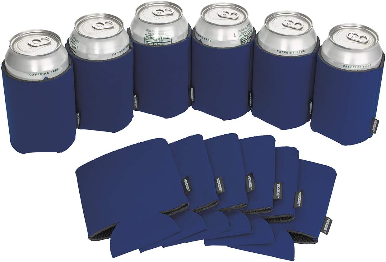 Koozie Can Cooler Blank Beer Koozie for Cans and Water Bottles, Bulk DIY Insulated Beverage Holder Personalized Gifts for Events, Bachelorette Parties, Weddings, Birthdays - Pack of 12 Sleeves (Navy)