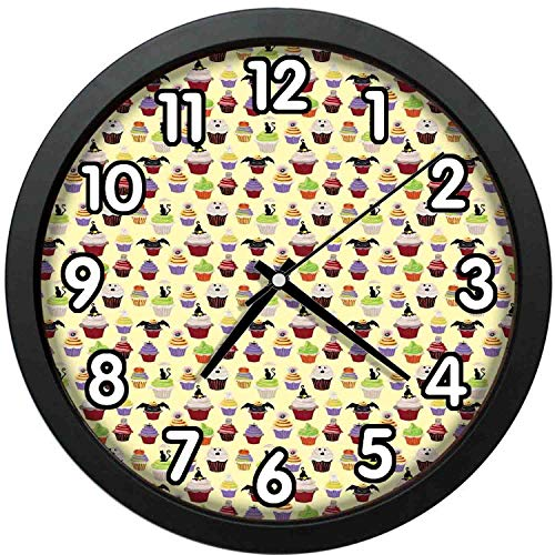 47BuyZHJX 12 inch Large Digital Silent Quartz Movement Wall Clock,Backdrop Pattern-Halloween Themed Delicious Scary with Cat Bat Ghost Frosting Holiday Season Cakes,Home School Office Wall Clock