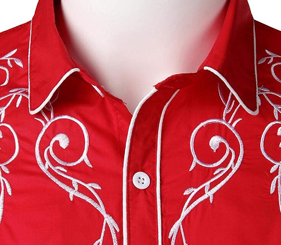 CRYYU Men Vogue Casual Embroidery Turn Down Collar Long Sleeve Button Down Blouse Shirt Tops