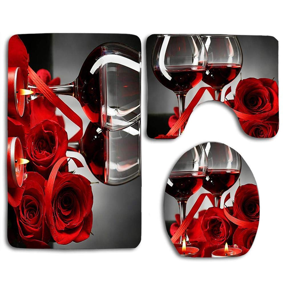 huachuangxinlHUQ Red Rose Flowers Wine Glass and Candle for Valentines Couple Decorative Soft Comfort mat Anti-Skid Absorbent Toilet Seat Cover Bath Mat Lid Cover 3pcs/Set Rugs by huachuangxinlHUQ