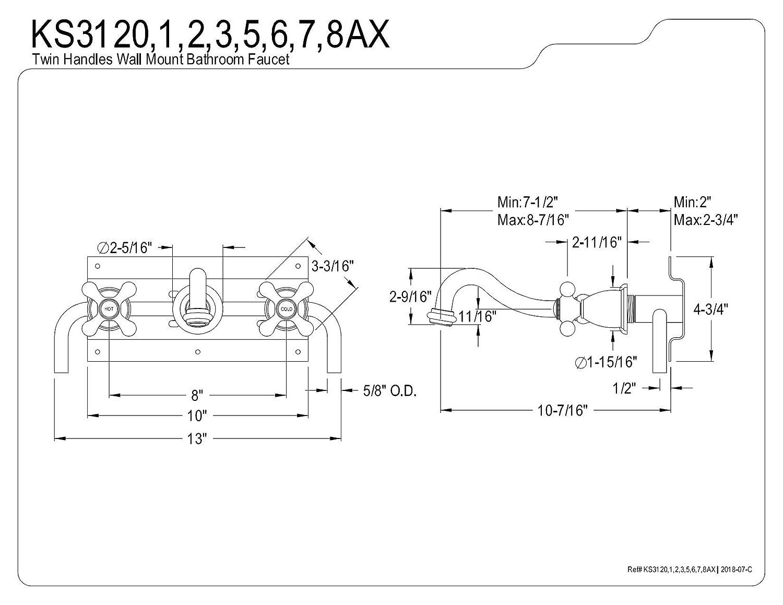 11-1//8 Kingston Brass KS3128AX 8 Wall Mount Sink Faucet with Metal Cross Handle Satin Nickel