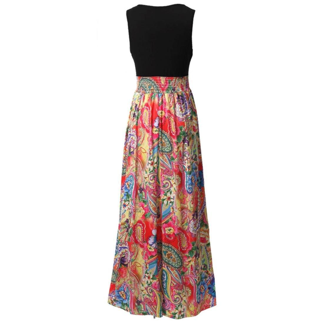 Amazon.com: kaifongfu Summer Women Dress V-neck Boho Maxi Beach Long Cocktail Party Floral Dress Tank Top Dress: Sports & Outdoors