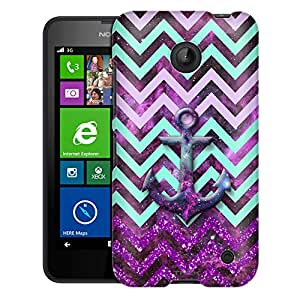 Nokia Lumia 635 Case, Slim Fit Snap On Cover by Trek Anchor on Chevron Glitter Green Purple on Nebula Case