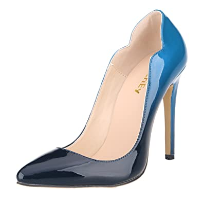 7aba77cd6391 ZriEy Women s Patent Pointy Toe Stiletto Sexy Pumps Shoes for Wedding Party  Nobility Double Color Bluesize