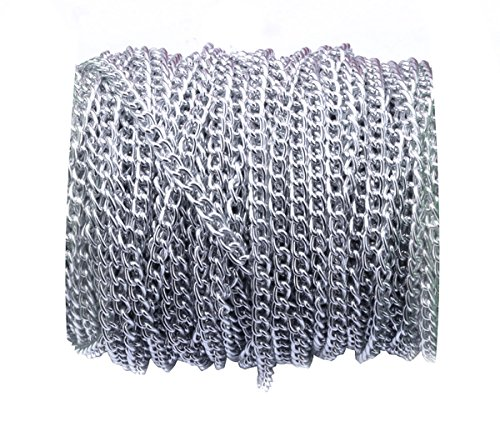 32.8ft 4.5mm Width Never Fade Aluminum Curb Chain Link Twisted Chains Metal Cable Chain Link Silver Jewelry Making Chain for DIY Making Bracelet Necklace