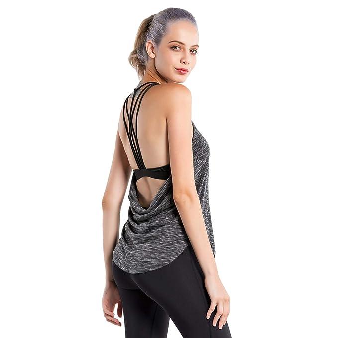 Amazon.com: MTSCE - Camiseta de yoga acolchada para mujer ...